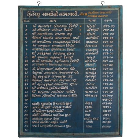 Cartel antiguo de color azul de origen indio