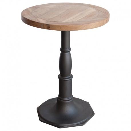 Mesa de bar de madera de teka con pie central metálico