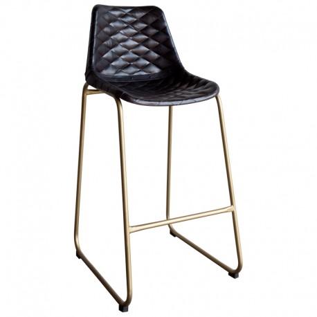 Taburete de bar tapizado en piel negra y estructura metálica color dorado