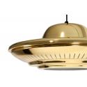 Lámpara colgante de techo color oro con forma de plato