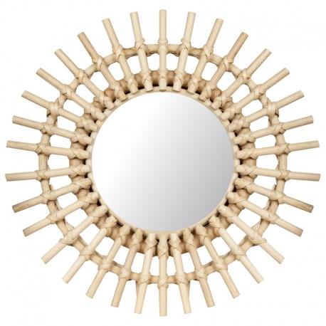 Espejo de pared fabricado con Rattan de forma redonda.