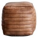 Puff vintage de piel marrón Cristin con espuma densa