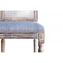 Silla de madera vintage Regina con decapado y tapizado color claro