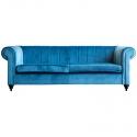 Sofá tapizado en terciopelo color azul Cobalto