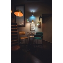 Taburete para Bar tapizado en piel auténtica asiento y respaldo Armand