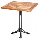 Mesa de bar de madera de Acacia con pie central metálico