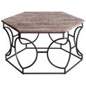 Mesa de centro con forma hexagonal de madera vintage y estructura metálica