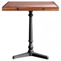 Mesa de comedor cuadrada de 70x70 con chapa de cobre y madera de teca