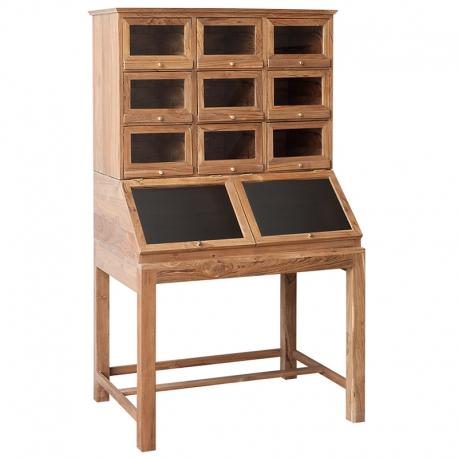 Vitrina de madera con baldas y cajones de madera y cristal
