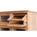 Vitrina de madera de teca con baldas y cajones de madera y cristal