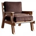 Sillón de madera maciza vintage y tapizado en Pana marrón