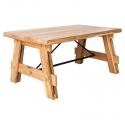 Mesa de Centro de madera de Teka con refuerzos metálicos