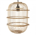 Lámpara colgante de madera con forma de jaula Pajarera