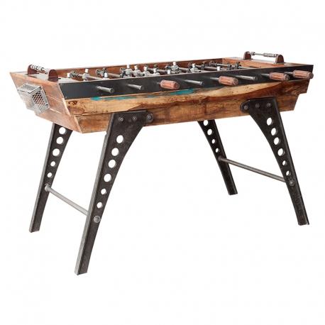 Futbolín decorativo de aire industrial con patas de acero y madera