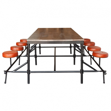 Mesa de comedor de madera con asientos de piel incluidos Brick Lane