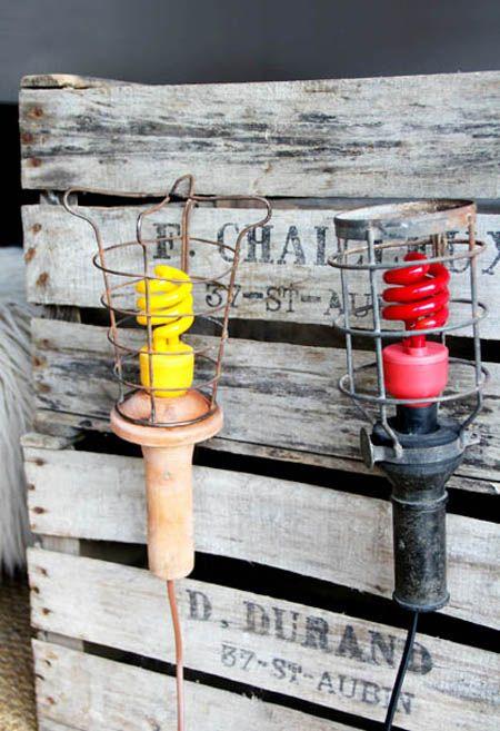 Lámparas industriales con bombillas de colores Pinterest.