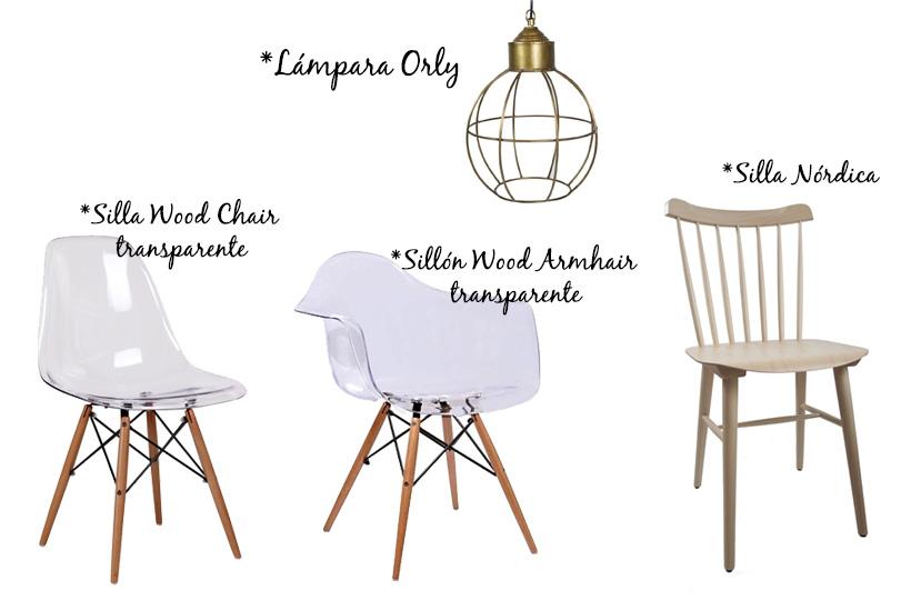 silla y sillón eames. Silla nórdica y lámpara vintage dorada