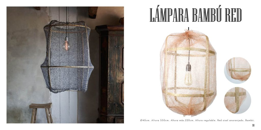 Lámpara estructura de bambú y red sisal