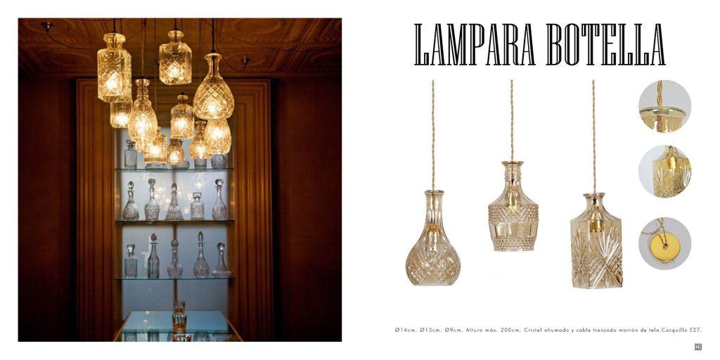 Lámpara de cristal imitación botellas de cognac