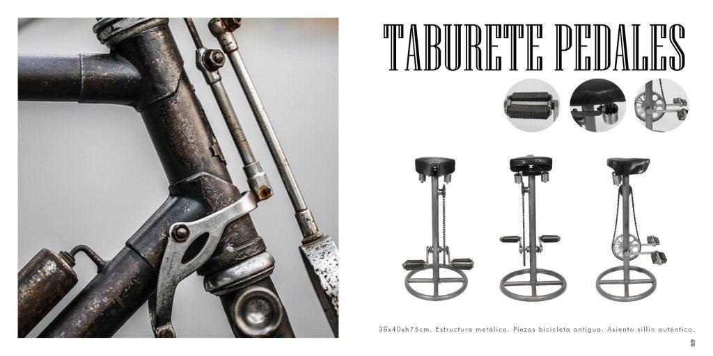 Taburete Pedales con asiento original de bicicleta