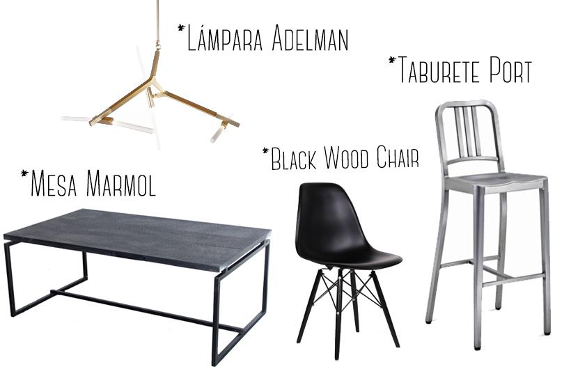 mobiliario estilo industrial y contemporáneo