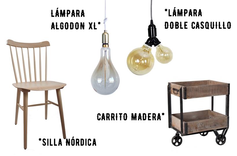 Mobiliario de estilo vintage e industrial.