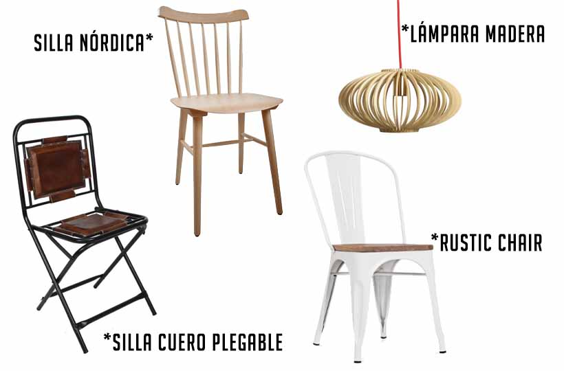 Mobiliario estilo vintage e industrial.