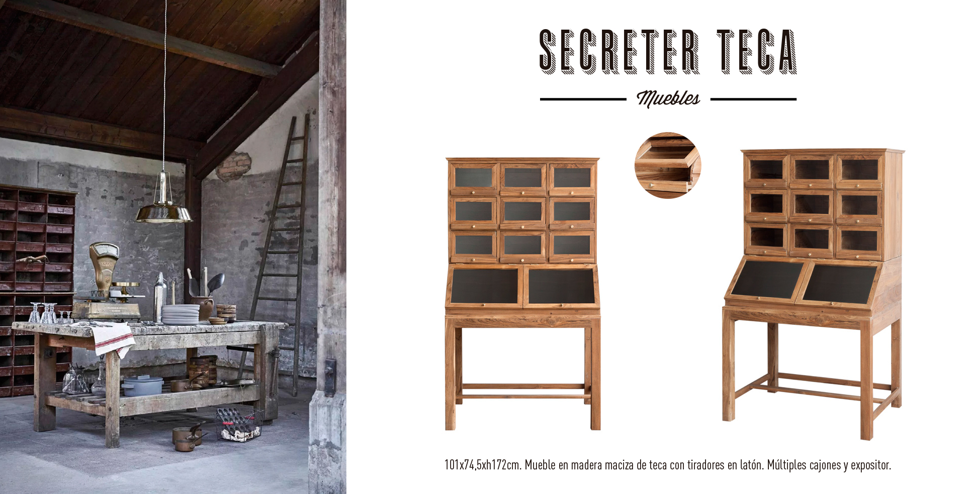 Mueble Secreter madera de teca