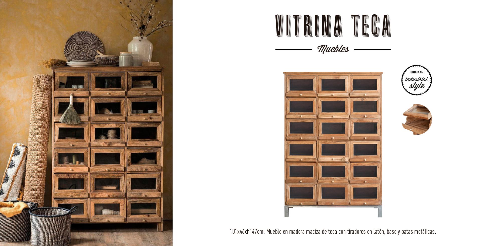 Mueble vitrina madera de teca