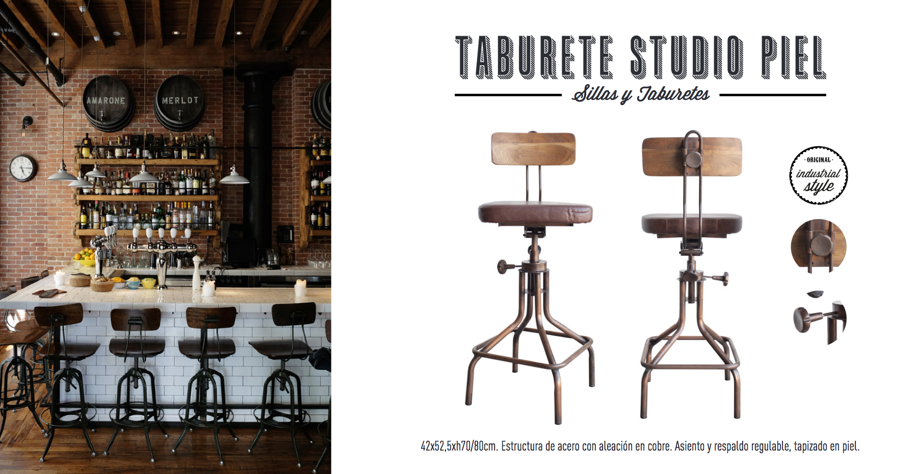Taburete Studio Piel- estilo industrial