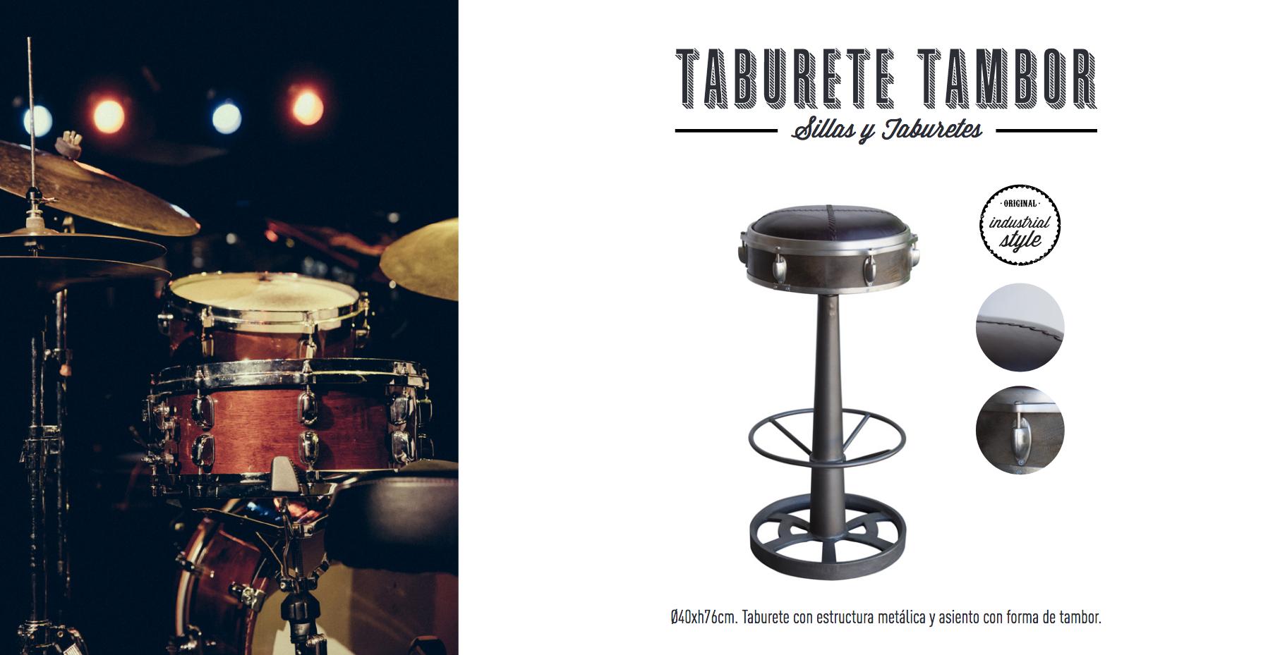 taburete tambor estilo industrial