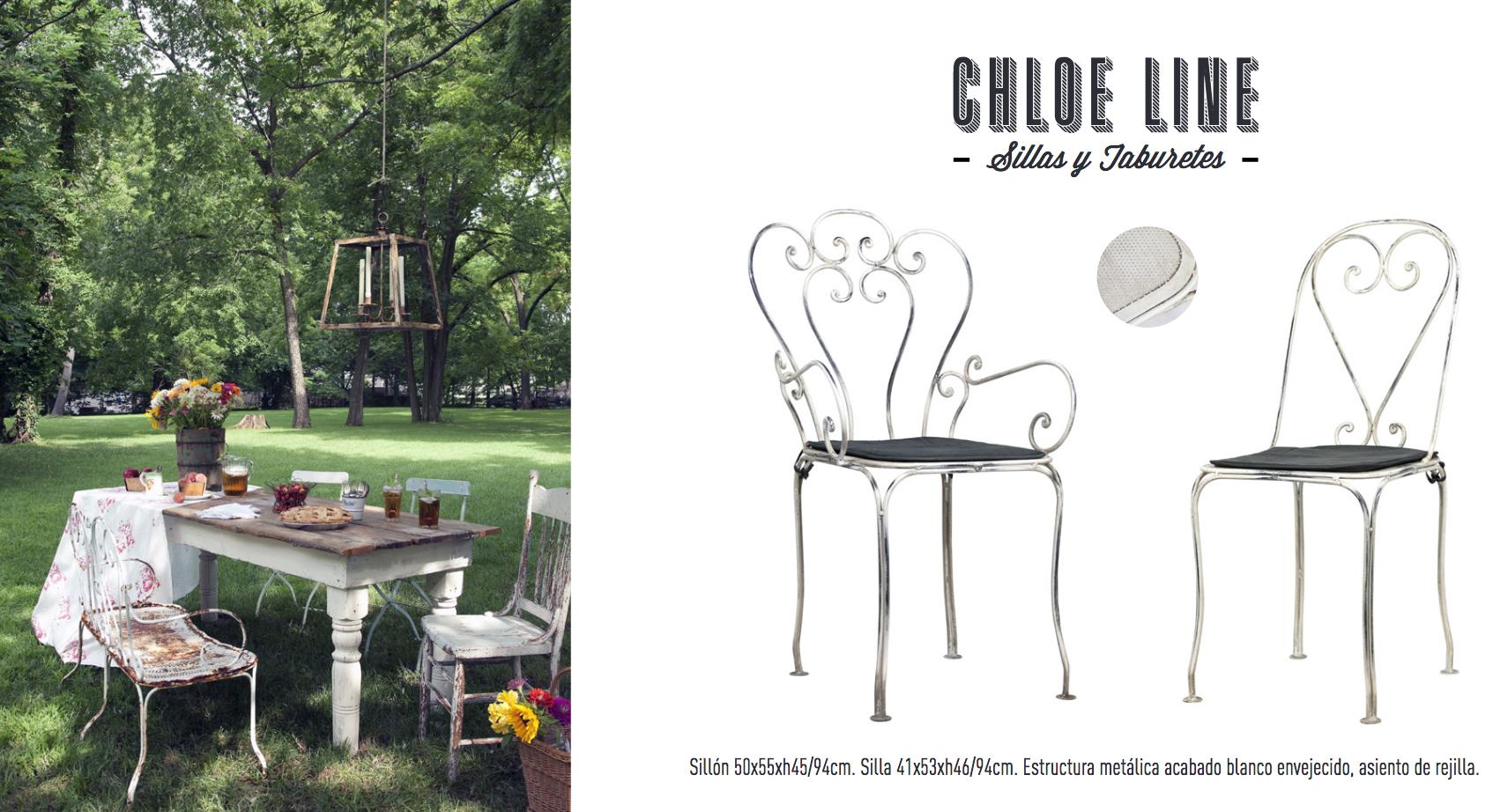 Silla y sillón de forja para jardín terraza