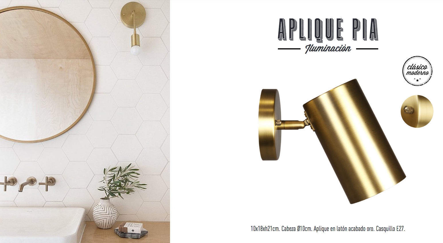 Aplique de pared dorado