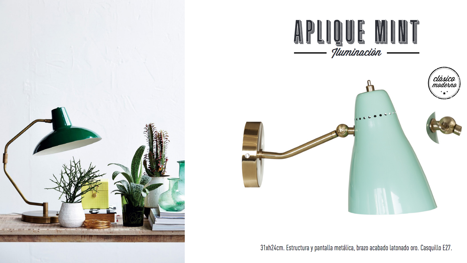 Aplique de pared mint menta y dorado