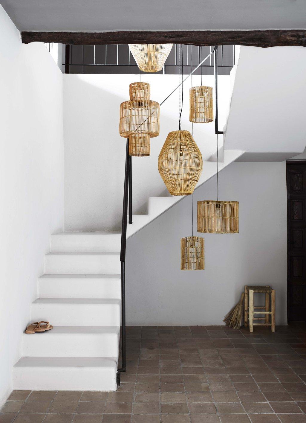 Decoración lámparas ratán boho madera bambú