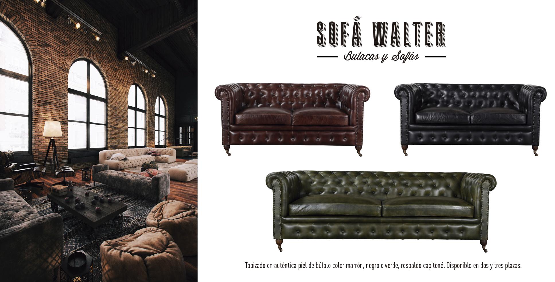 sofa walter dos tres plazas marron negro verde