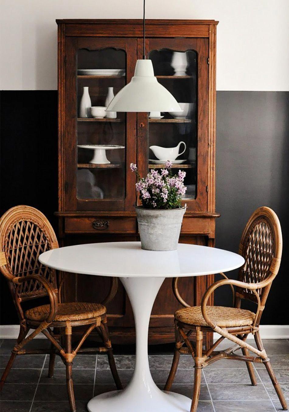Mesa tulip y silla miranda en el comedor