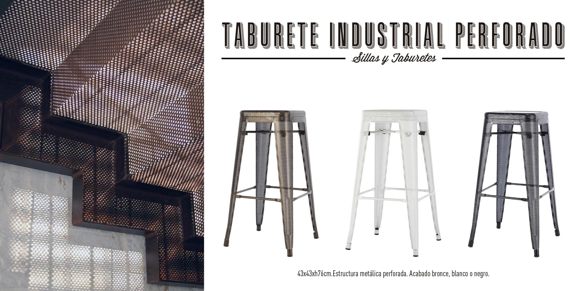 Taburete industrial perforada Tolix