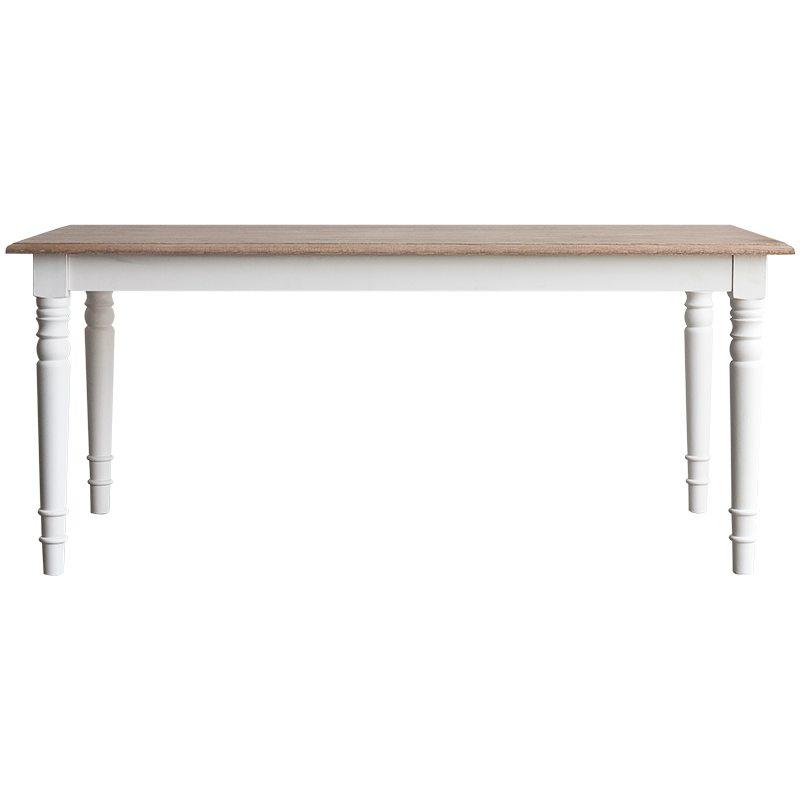 mesa comedor de madera con sobre natural y estructura blanca