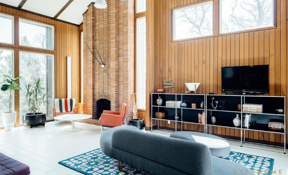 Salón con Estilo Mid Century en su mobiliario de diseño