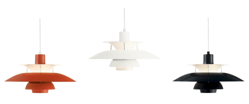 lamparas de techo ph50 color naranja, negro y blanco