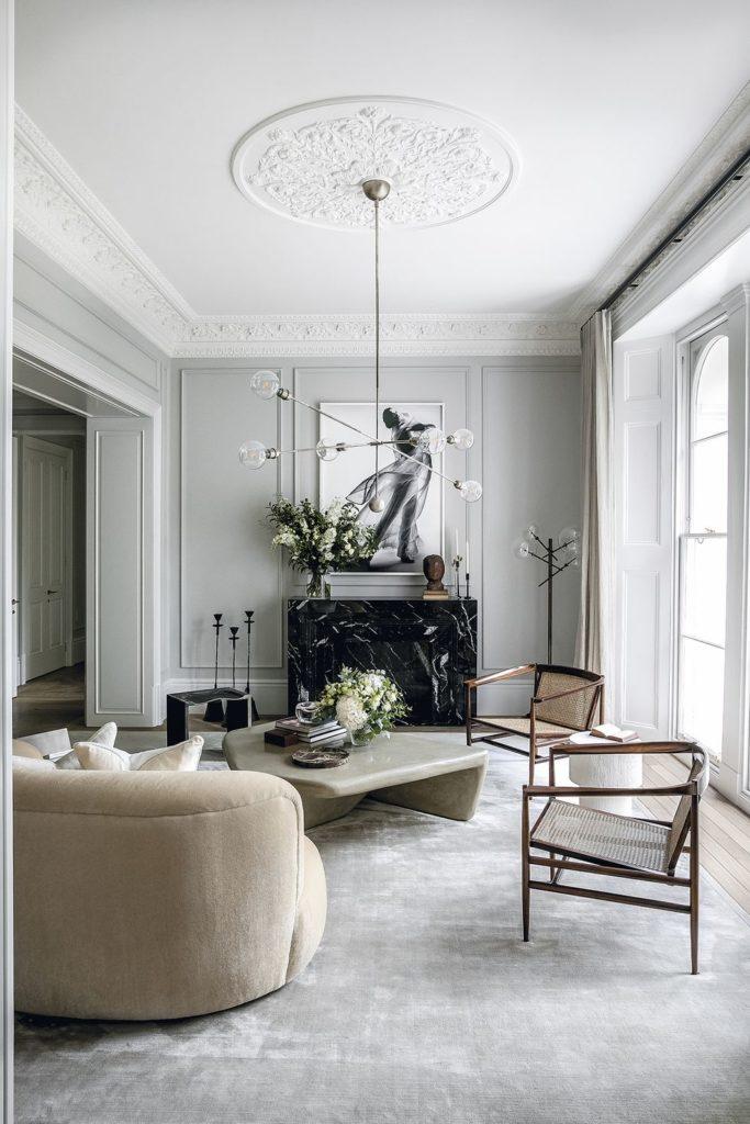 ideas para decorar Salón estilo Mid Century con lámpara colgante