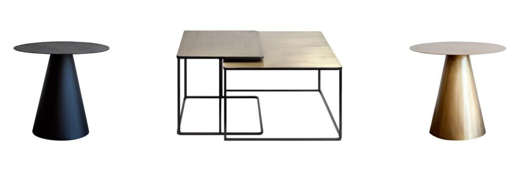 mesas de centro doradas