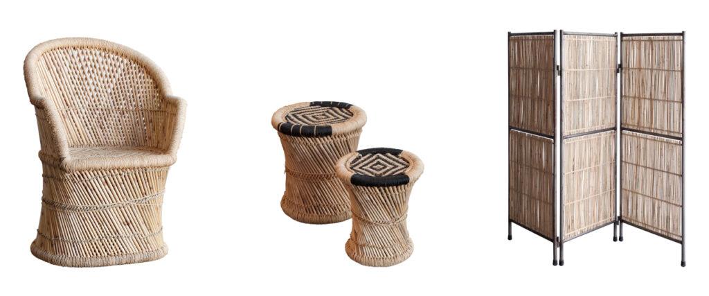 sillones, taburetes y biombos de fibras naturales