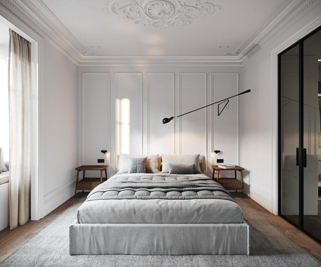 dormitorio de estilo minimalista en tonos gris y blanco