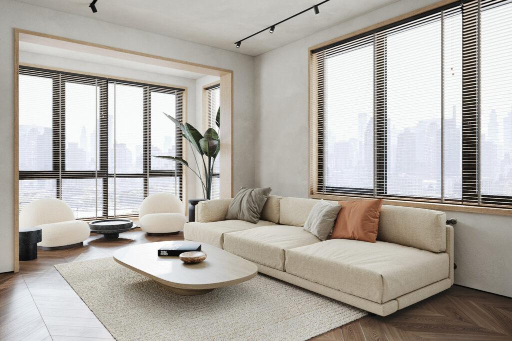 salón en tonos claros y con decoración minimalista
