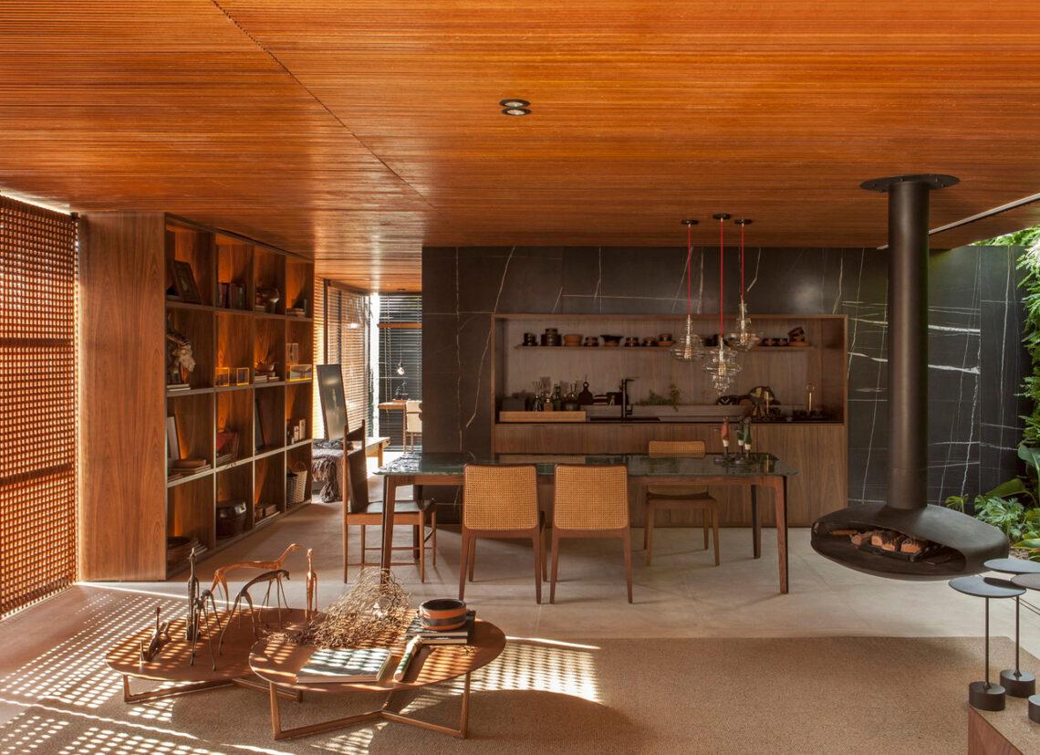 mobiliario y lámparas de color tierra
