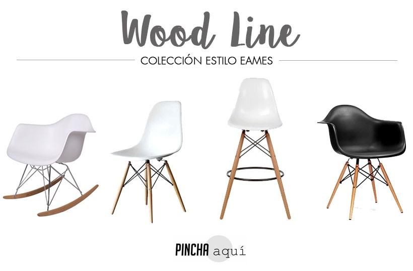 Sillas, taburetes, mecedoras y mesas de estilo eames wood line.